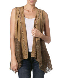 Miss Me Women's Tribal Faux Suede Vest, , hi-res