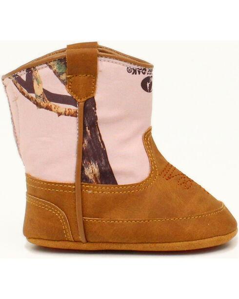 Double Barrel Infant Girls' Jobie Pink Mossy Oak Cowgirl Booties, Brown, hi-res