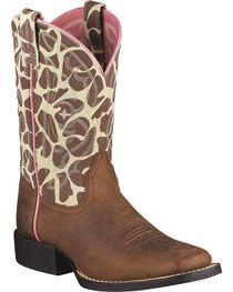 Ariat Kid's Qickdraw Western Boots, Brown, hi-res