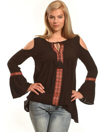 Derek Heart Women's Bell Sleeves Cold Shoulder Top , , hi-res