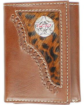PBR Concho Leopard Print Hair-on-Hide Inlay Tri-fold Wallet, Brown, hi-res
