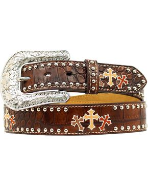 Nocona Triple Cross Embroidery Studded Leather Belt, Brown, hi-res