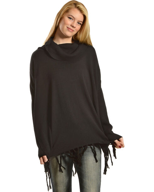 Black Swan Women's Sofia Fringe Trim Cowl Neck Tunic Sweater, Black, hi-res
