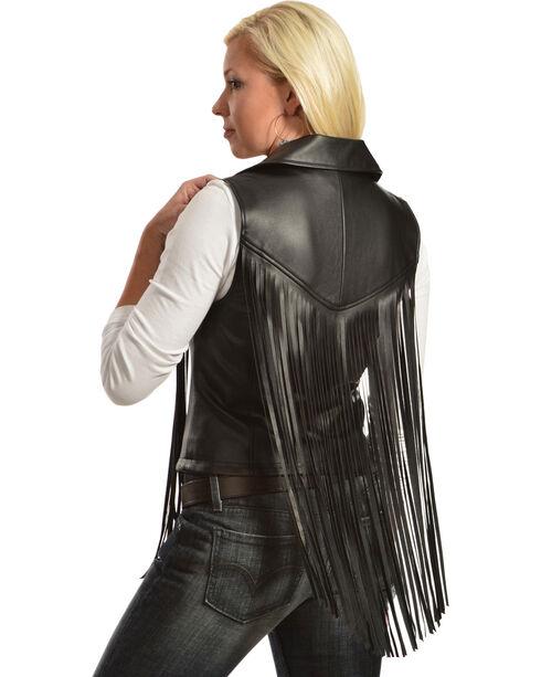 Cowgirl Justice Women's Black Fringe Moto Vest, Black, hi-res