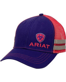 Ariat Men's Purple Contrasting Shield Logo Baseball Cap , , hi-res