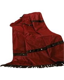 HiEnd Accents Cheyenne Red Faux Tooled Leather Throw Blanket, , hi-res