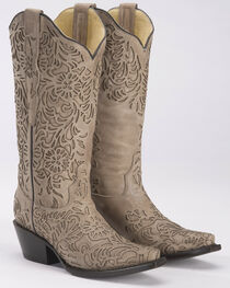 Corral Women's Bone Cutout Cowgirl Boots - Snip Toe, , hi-res