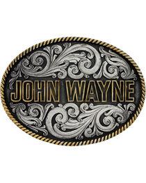 Montana Silversmiths Two-Tone John Wayne Rope Trim Attitude Belt Buckle, , hi-res