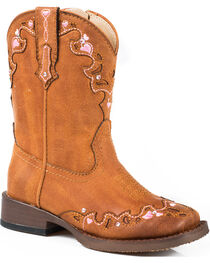 Roper Toddler Girls' Tan Vintage Crystal Cowgirl Boots - Square Toe  , , hi-res