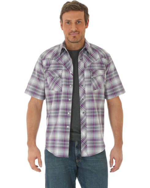 Wrangler Men's Plaid Short Sleeve Shirt  , Purple, hi-res