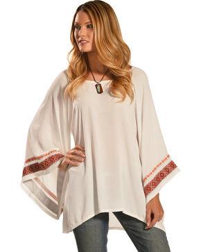 Wrangler Rock 47 Women's Long Pagoda Sleeve Top , Vanilla, hi-res
