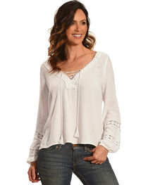 Derek Heart Women's White Lace Up & Fit Trim Shirt , , hi-res