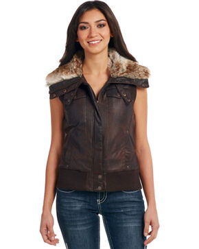 Cripple Creek Women's Brown Faux Fur Lining Aviator Vest, Dark Brown, hi-res