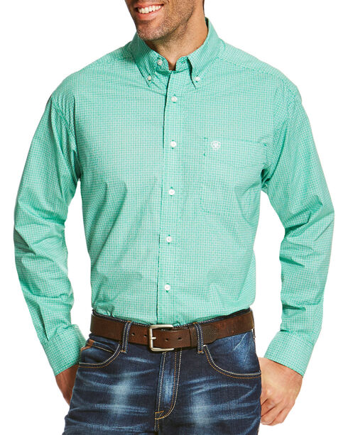 Ariat Men's Patterned Button Down Long Sleeve Shirt , Green, hi-res