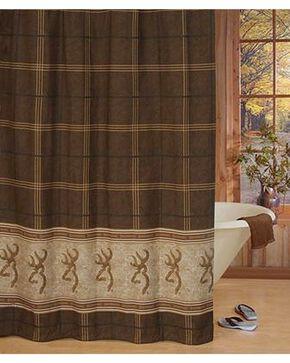Browning Buckmark Shower Curtain, Brown, hi-res