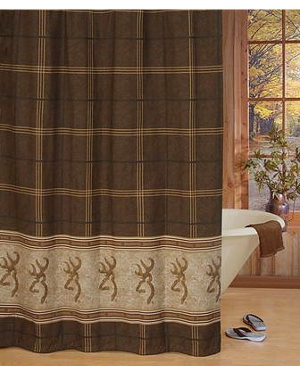 Browning Buckmark Shower Curtain, Brown, hi-res