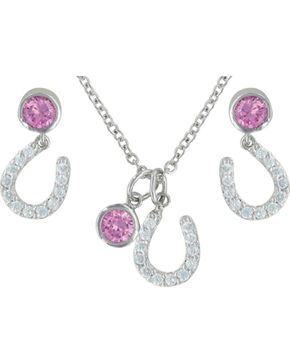Montana Silversmiths Women's Pink Luck by Star Light Jewelry Set, Silver, hi-res