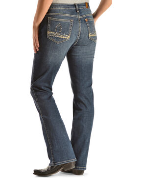 Wrangler Women's Aura Instantly Slimming Embroidered Pocket Bootcut Jeans, Denim, hi-res