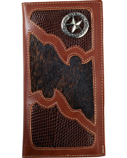 Western Express Men's Brown Star Emblem Wallet , Brown, hi-res