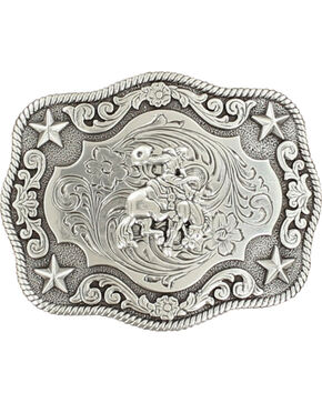 Nocona Boys' Vintage Saddle Bronc Buckle, Silver, hi-res