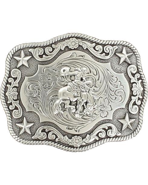 Nocona Boys' Vintage Saddle Bronc Buckle, Silver, hi-res