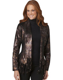 Cripple Creek Black & Gold Fringe Leather Jacket, , hi-res