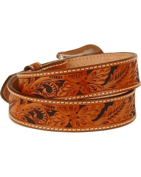 Tony Lama Men's Tooled leather Belt, Tan, hi-res