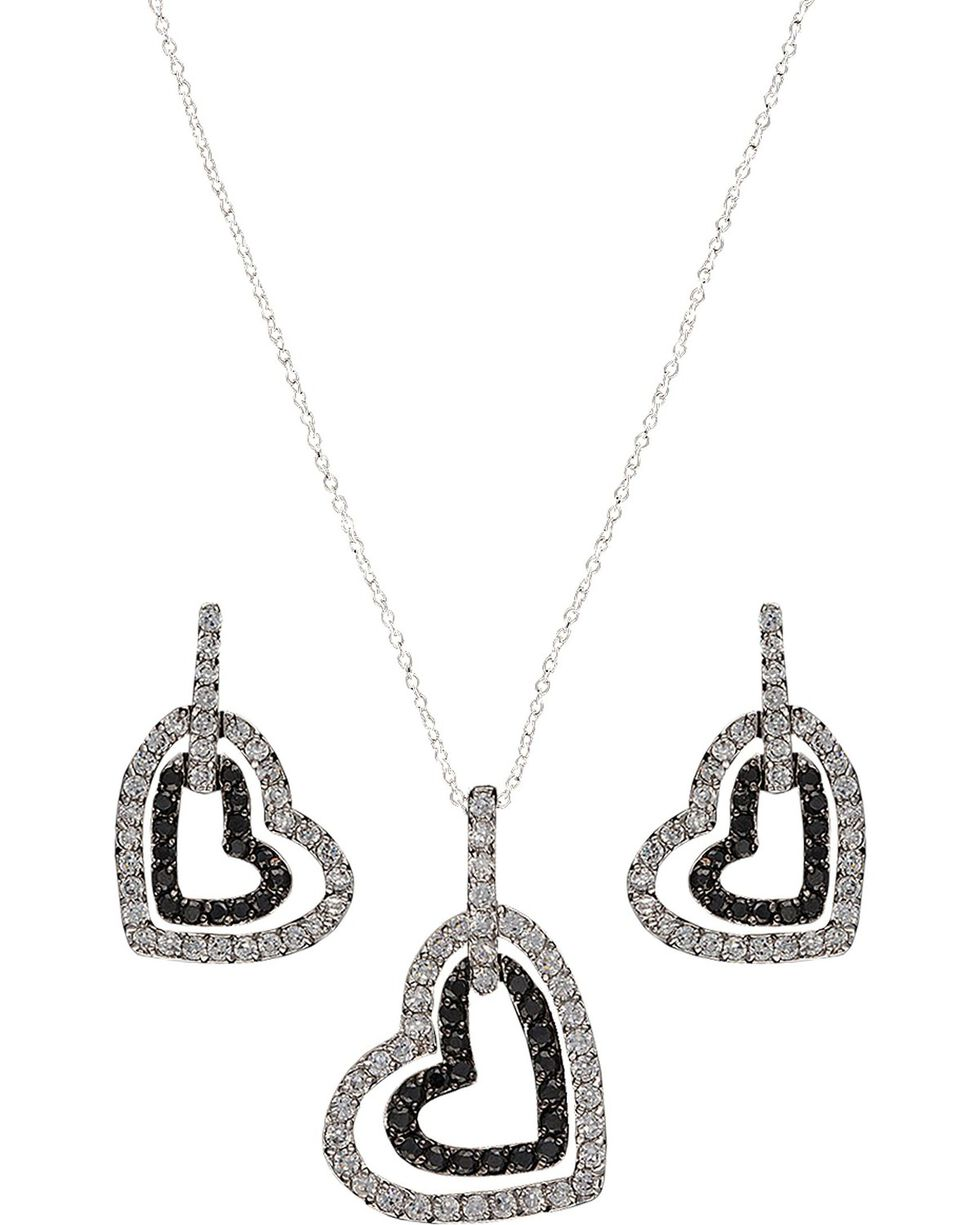 Montana Silversmiths Hearts Deep Reflection Jewelry Set, Silver, hi-res