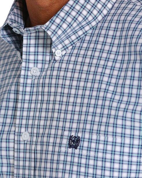 Cinch Men's Plaid Short Sleeve Button Down Shirt - Big, White, hi-res