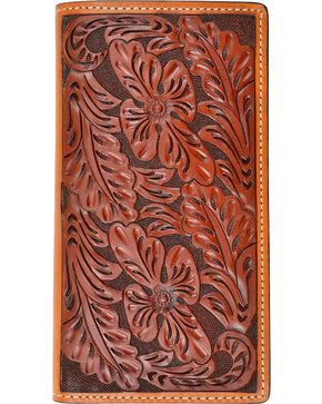 Tony Lama Hand Tooled Leather Rodeo Wallet, Tan, hi-res