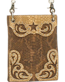 Blazin Roxx Snakeskin Star Messenger Bag, , hi-res