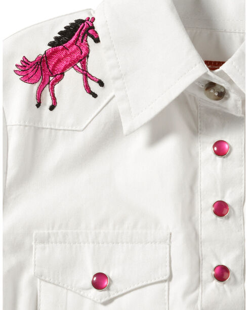 Girls' Long Sleeve Onesie White with Horse Rhinestone Yoke, White, hi-res