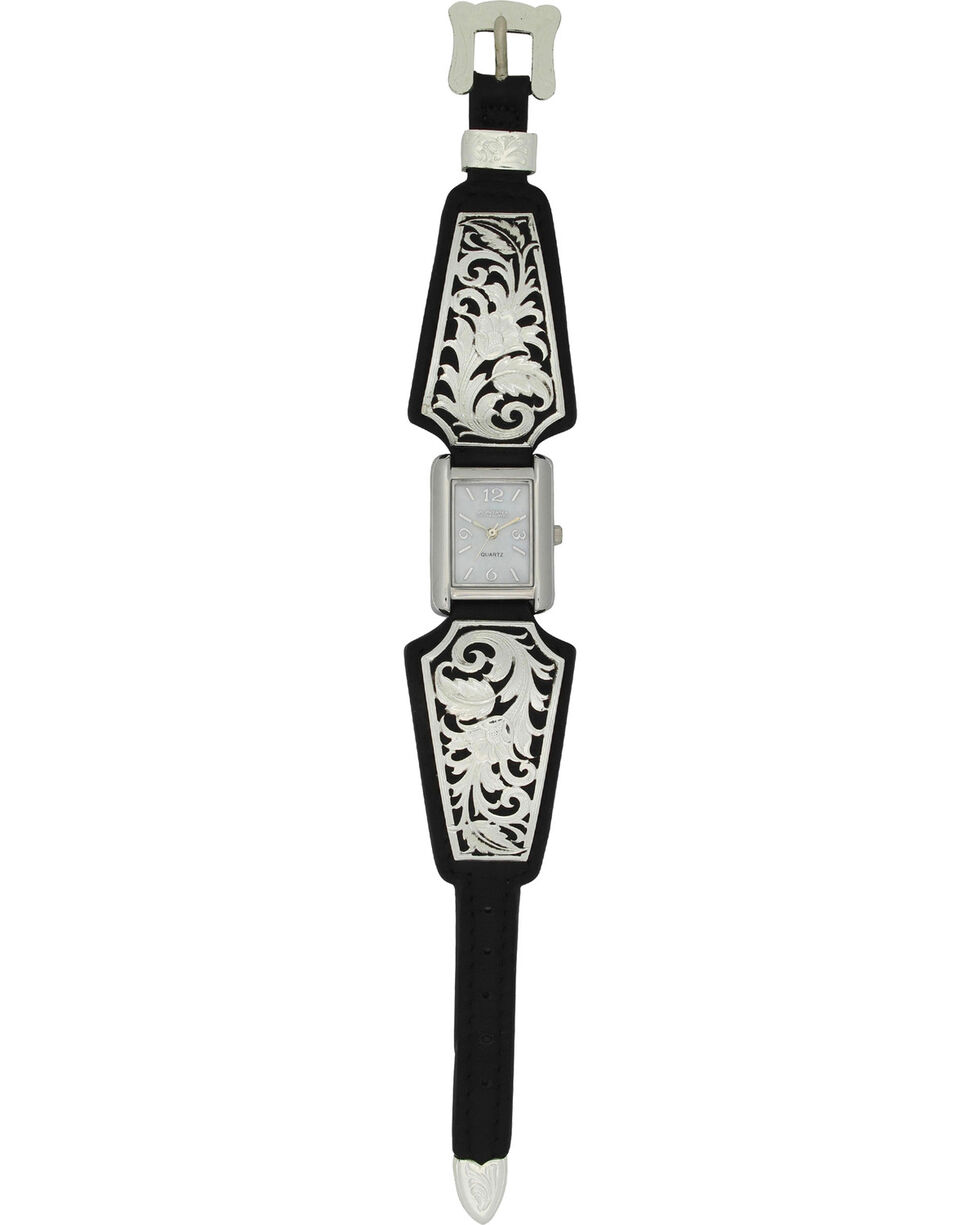 Montana Silversmiths Women's Leathercut Floral Scroll Dress Watch, Silver, hi-res