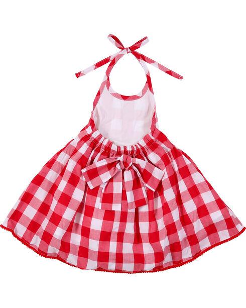 Wrangler Toddler Girls' Plaid Halter Dress, Red, hi-res