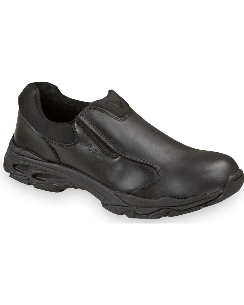 Thorogood Men's ASR Leather Slip-On Uniform Shoes - Soft Toe, Black, hi-res