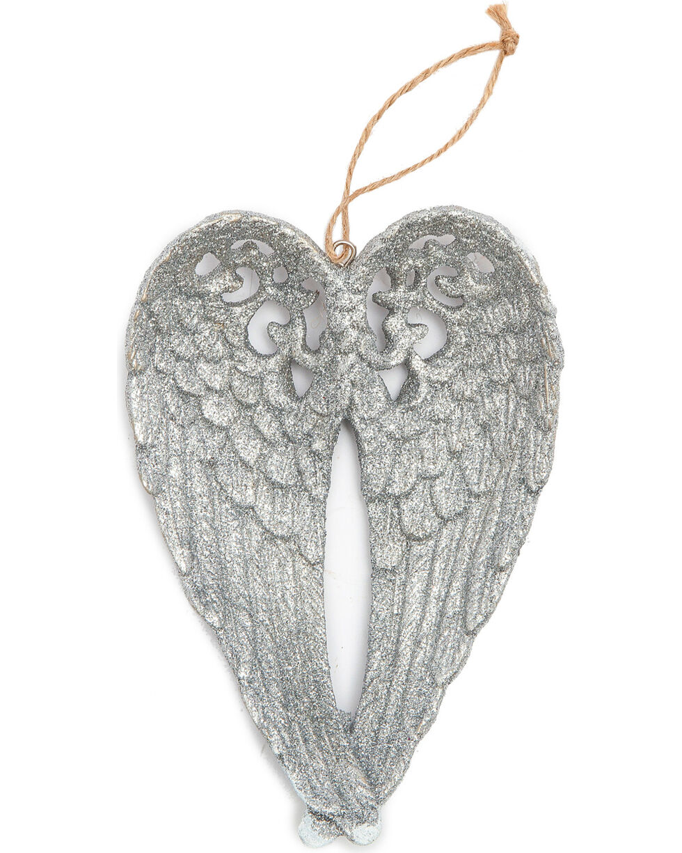 BB Ranch Silver Glitter Wings Ornament, Silver, hi-res