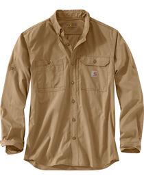 Carhartt Men's Khaki Force Ridgefield Solid Long-Sleeve Shirt - Big and Tall, , hi-res
