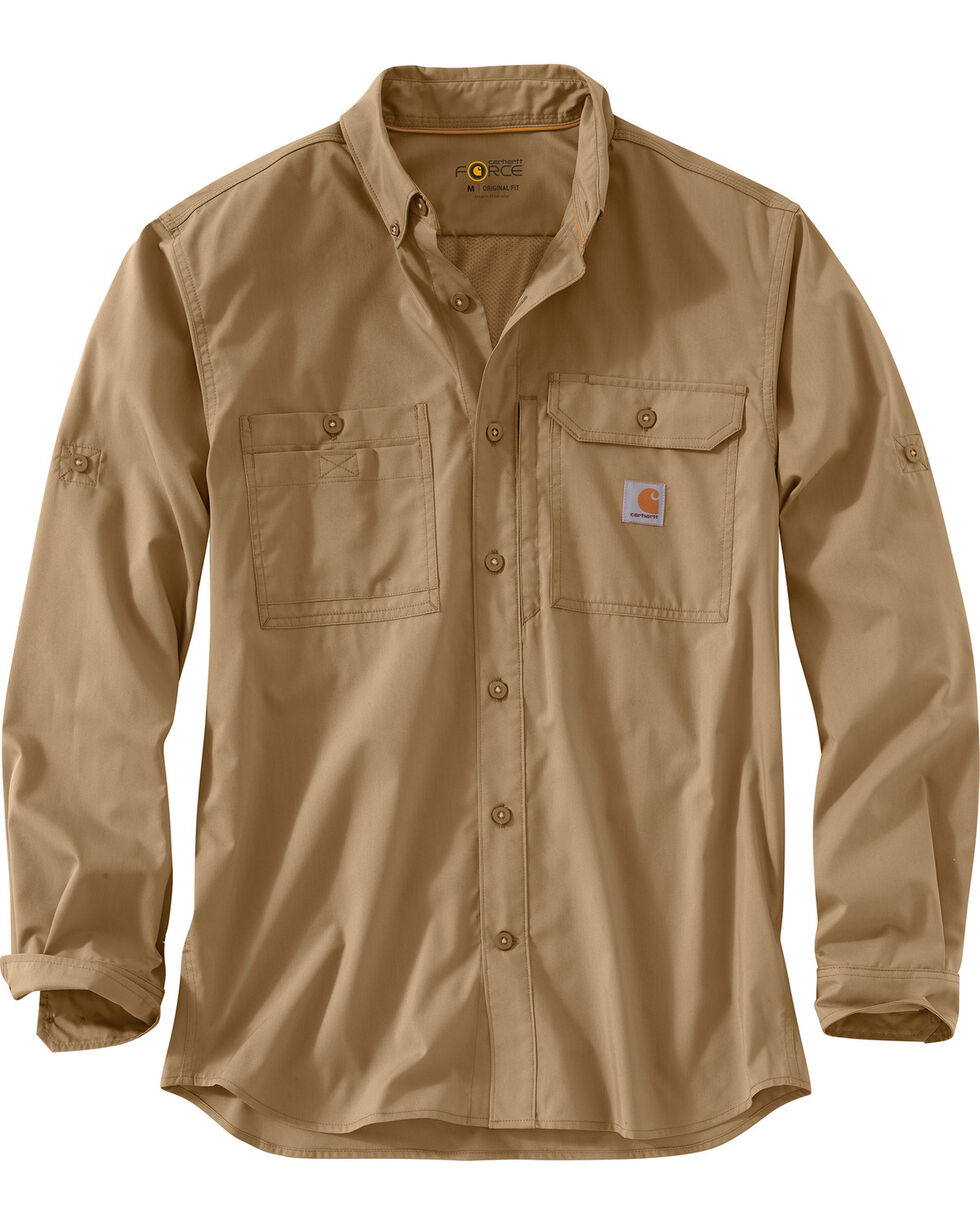 Carhartt Men's Khaki Force Ridgefield Solid Long-Sleeve Shirt - Big and Tall, Khaki, hi-res
