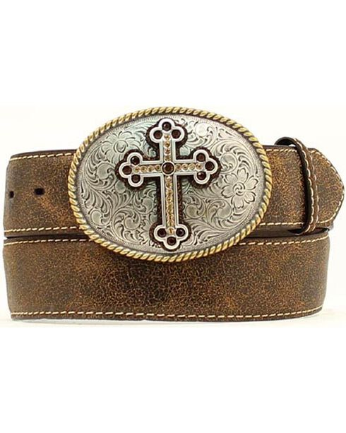 Nocona Distressed Cracked Leather Belt with Fancy Cross Oval Buckle - Plus, Brown, hi-res