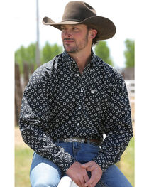 Cinch Men's Black Pattern Long Sleeve Shirt , , hi-res