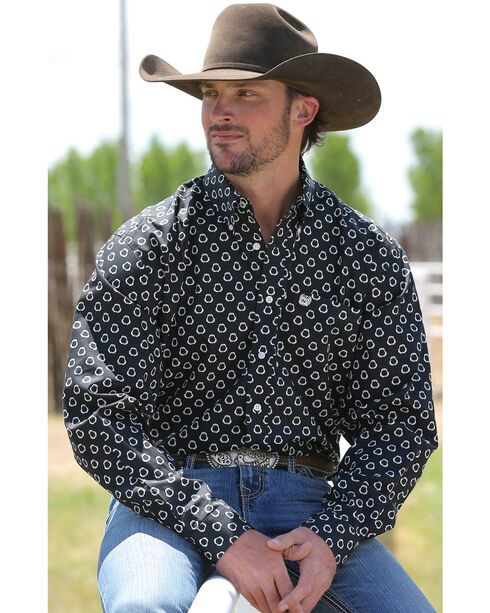Cinch Men's Black Pattern Long Sleeve Shirt , Black, hi-res
