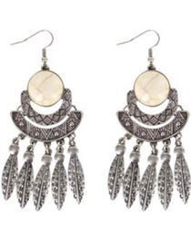Shyanne® Women's Feather Chandelier Earrings, , hi-res