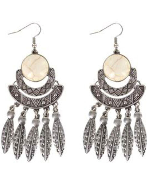 Shyanne® Women's Feather Chandelier Earrings, Silver, hi-res