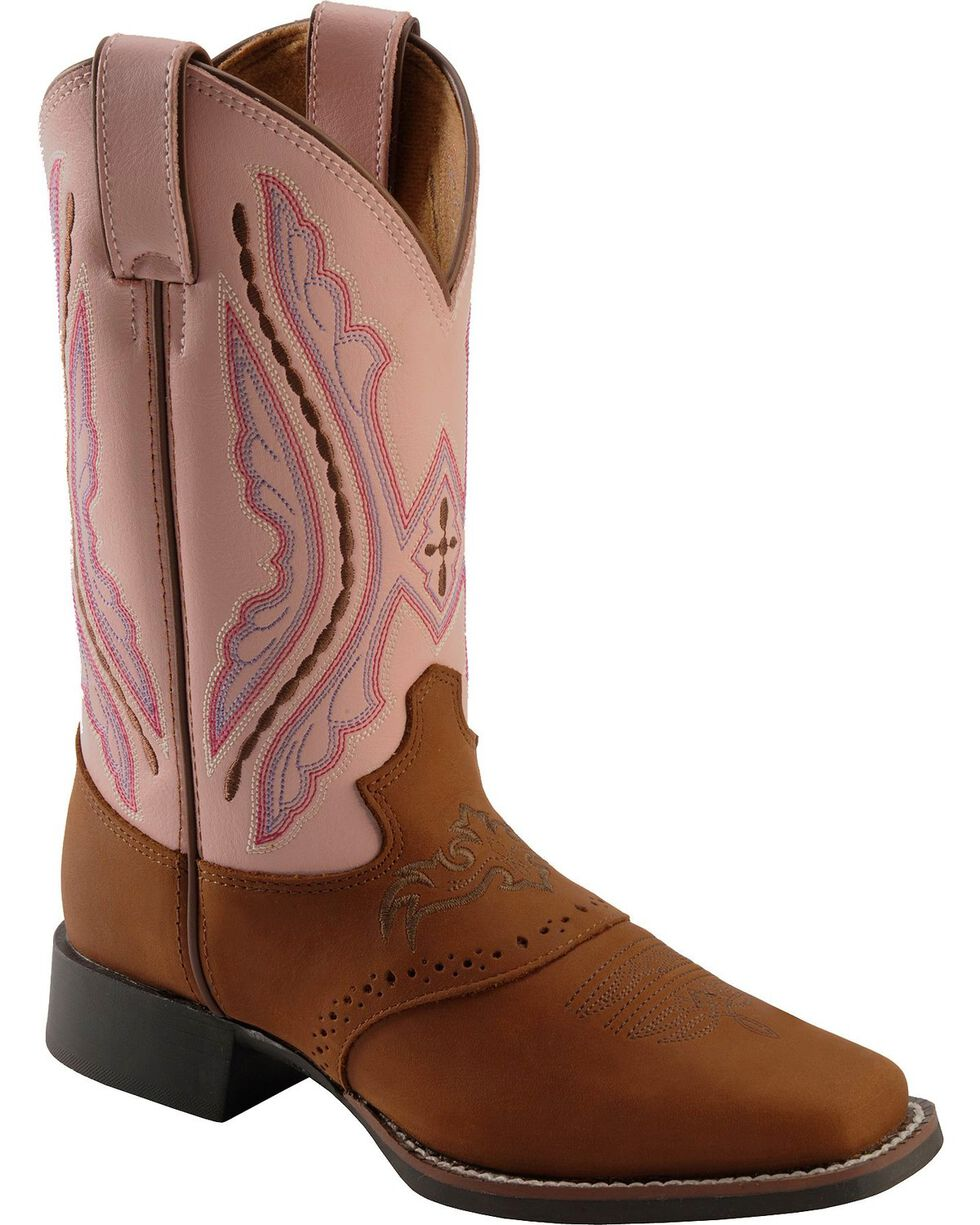 Justin Girls' Western Saddle Vamp Cowgirl Boots - Square Toe, Brown, hi-res