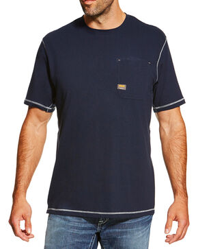 Ariat Men's Rebar SPF Short Sleeve Shirt, Navy, hi-res