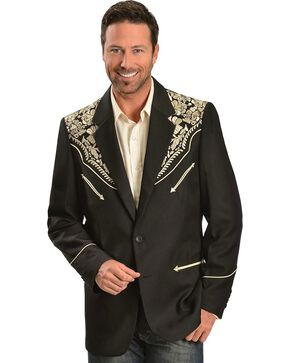 Scully Men's Floral Embroidered Blazer, Gold, hi-res