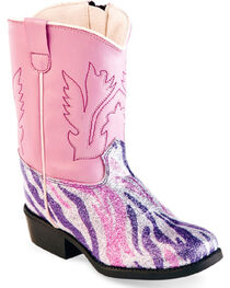 Old West Toddler Girls' Pink and Purple Zebra Western Boots - Square Toe , , hi-res