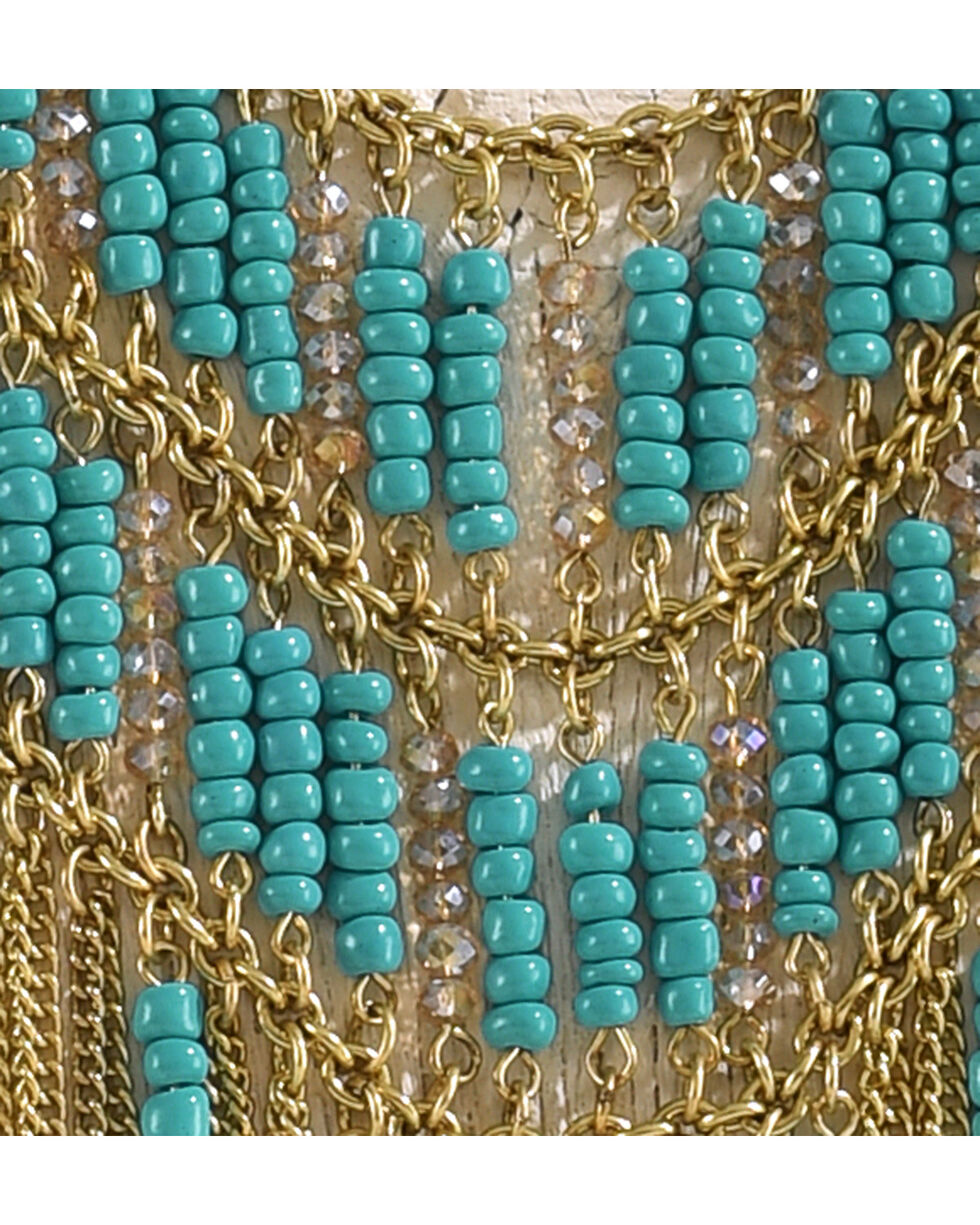 Shyanne Women's Gold and Turquoise Fringe Necklace, Gold, hi-res