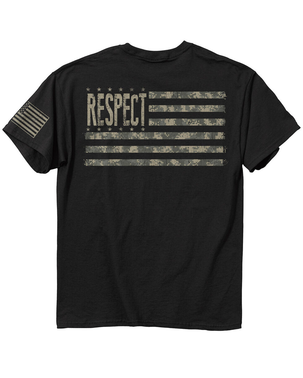 Buck Wear Men's Respect Digital Flag T-Shirt, Black, hi-res
