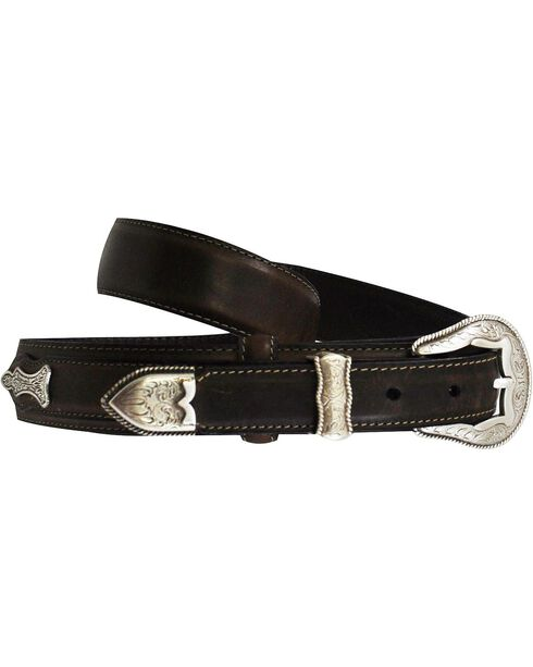 Roper Ranger Concho Leather Belt, Brown, hi-res